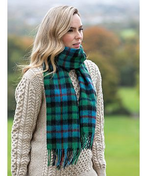 100% Lambswool Scarf Blue / Green / Red Check