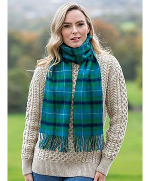 100% Lambswool Scarf Blue / Green Check