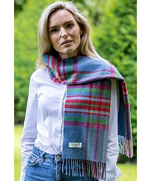 Lambswool Scarf Blue Green & Red
