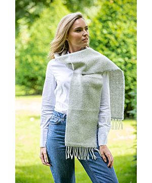 Wool and Cashmere light grey Herringbone Scarf 2422