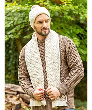 Mens Aran Scarf and Hat Set Beige and Natural