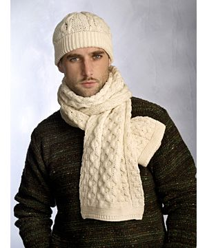 Merino Wool Natural Honeycomb Aran scarf and hat set