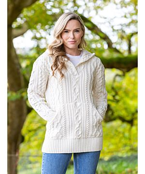 V Neck Hoody with Pockets Natural