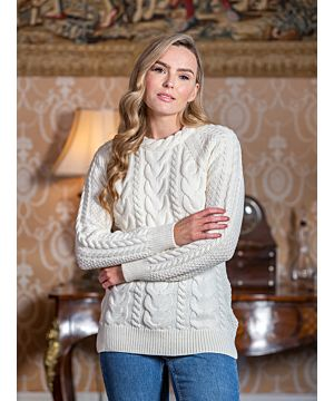 Wool and Cashmere Fitted Crew Natural B019