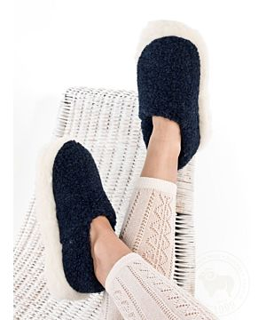 Navy Blue Wool Slippers