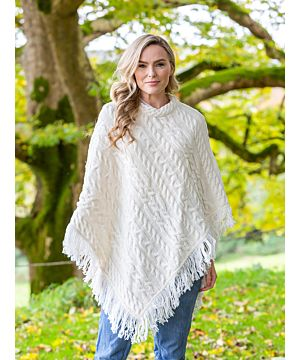 Merino Wool Aran Poncho with fringe - Natural