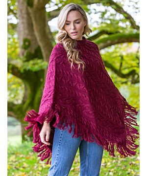 Merino Wool Aran Poncho with fringe - Burgundy