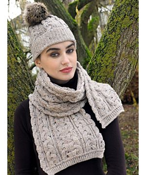Aran Cable Knit Hat Pom Pom Oatmeal