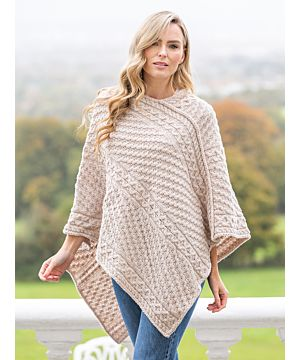 Ladies Merino Wool V Poncho Parsnip