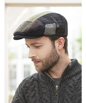 Men's Flat Irish Patchwork Wool Cap