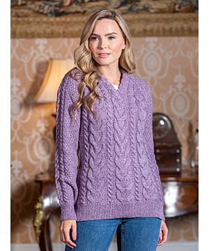 Wool and Cashmere V Neck Fitted Sweater Lavender