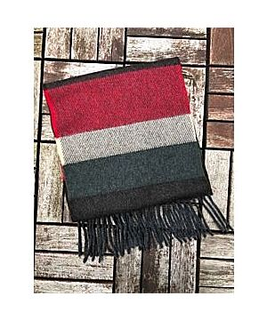 Wool Cashmere Scarf Made in Ireland - Wine/green/charcoal Mix