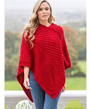 Ladies Merino Wool V Poncho Red