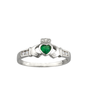 Claddagh Ring with Emerald Stone S2594