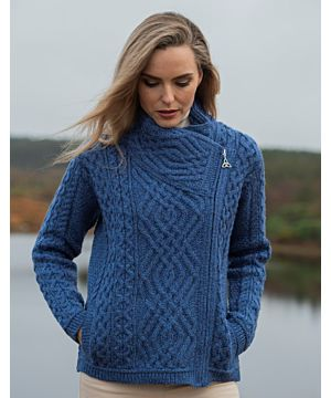 Cable Knit Side Zip Cardigan Royal Blue