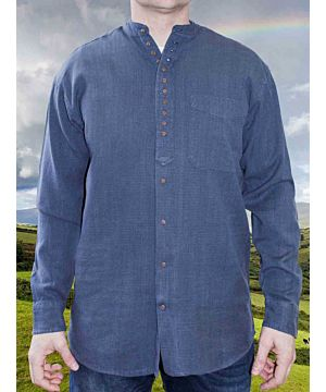 Men's Traditional Ink Blue Grandfather Shirt