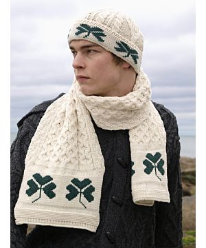 Aran Shamrock scarf and matching hat set