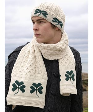Unisex Aran Hat with Shamrocks