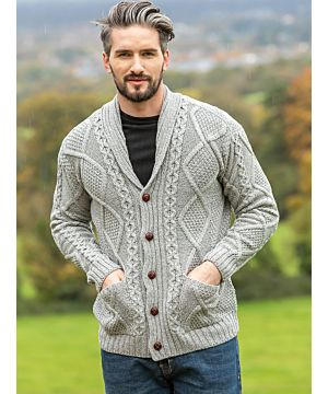 Mens V Neck Cable Knit Cardigan Silver