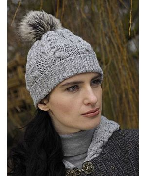 Aran Cable Knit Hat Pom Pom Silver