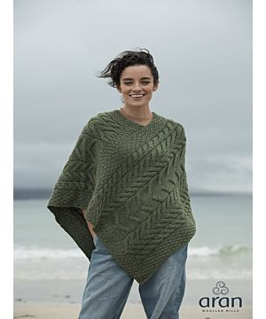Aran Super Soft Poncho Green