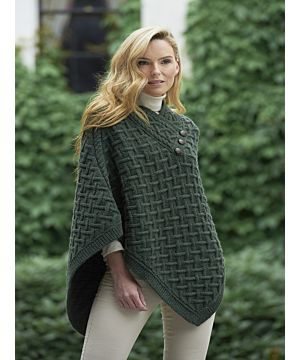 Super Soft Poncho Army Green