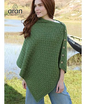 Super Soft Merino Wool Poncho with Buttons