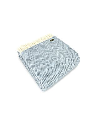 Pure New Wool Blanket Beehive Stitch - Petrol Blue