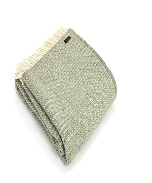 Pure New Wool Blanket - Green Grey Illusion