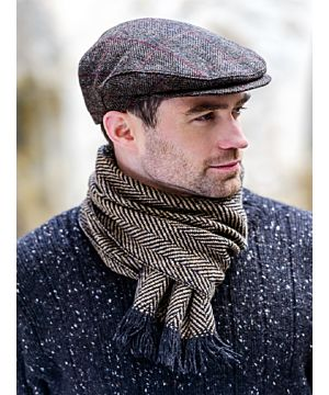 Mucros Trinity Cap - Brown with Red check -  MADE IN IRELAND
