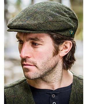 Trinity Cap Green Red Herringbone