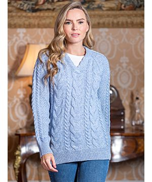Wool and Cashmere V Neck Fitted Sweater Sky Blue