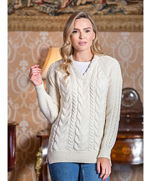 Wool and Cashmere V Neck Fitted Sweater Natural