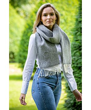 Wool and Cashmere Herringbone Grey Scarf
