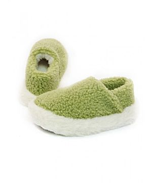 Pea Green Wool Slippers